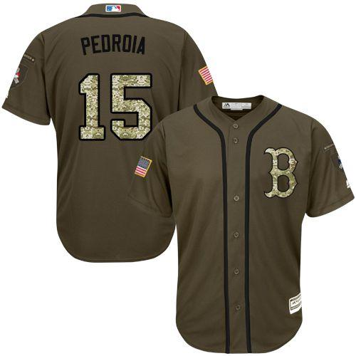 Red Sox #15 Dustin Pedroia Green Salute to Service Stitched MLB Jersey