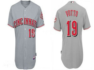 Reds #19 Joey Votto Grey Cool Base Stitched MLB Jersey
