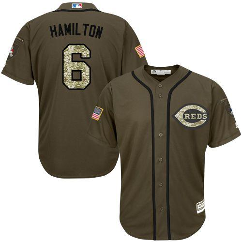 Reds #6 Billy Hamilton Green Salute to Service Stitched MLB Jersey