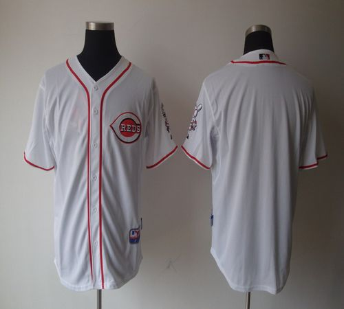 Reds Blank White Home Cool Base Stitched MLB Jersey