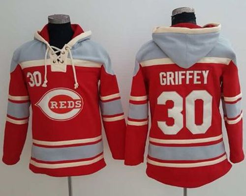 Reds #30 Ken Griffey Red Sawyer Hooded Sweatshirt MLB Hoodie