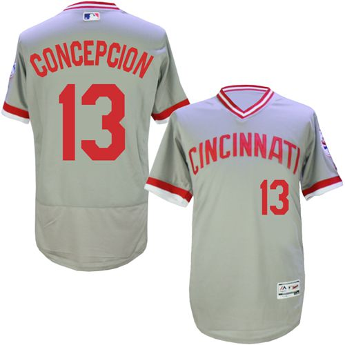 Reds #13 Concepcion Grey Flexbase Authentic Collection Cooperstown Stitched MLB Jersey
