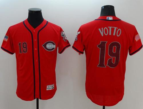Reds #19 Joey Votto Red Fashion Stars & Stripes Flexbase Authentic Stitched MLB Jersey