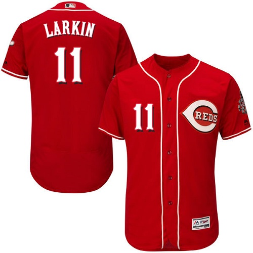 Reds #11 Barry Larkin Red Flexbase Authentic Collection Stitched MLB Jersey