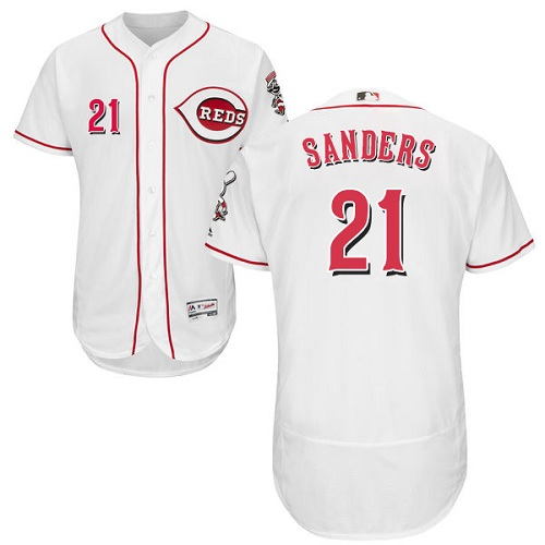 Reds #21 Reggie Sanders White Flexbase Authentic Collection Stitched MLB Jersey