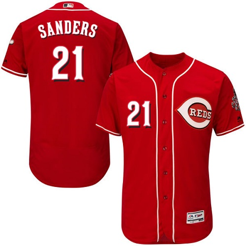 Reds #21 Reggie Sanders Red Flexbase Authentic Collection Stitched MLB Jersey