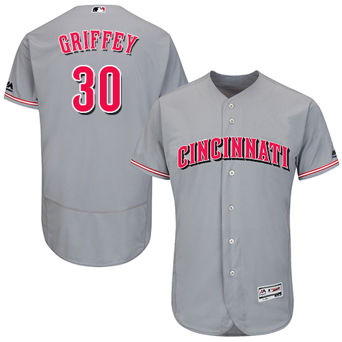 Reds #30 Ken Griffey Grey Flexbase Authentic Collection Stitched MLB Jersey