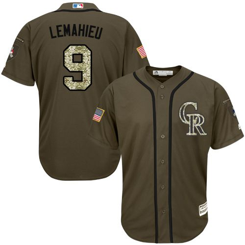 Rockies #9 DJ LeMahieu Green Salute to Service Stitched MLB Jersey