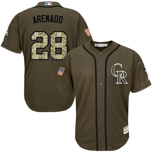Rockies #28 Nolan Arenado Green Salute to Service Stitched MLB Jersey