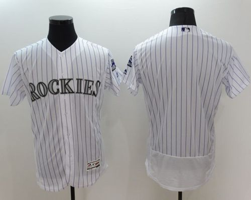Rockies Blank White Flexbase Authentic Collection Stitched MLB Jersey