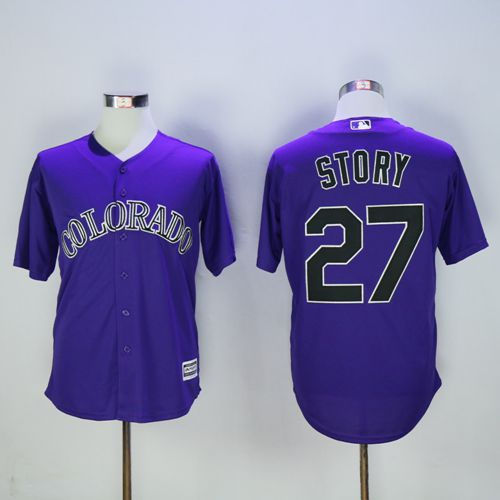Rockies #27 Trevor Story Purple New Cool Base Stitched MLB Jersey