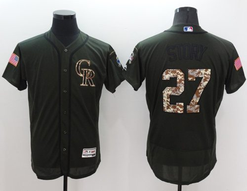 Rockies #27 Trevor Story Green Flexbase Authentic Collection Salute to Service Stitched MLB Jersey