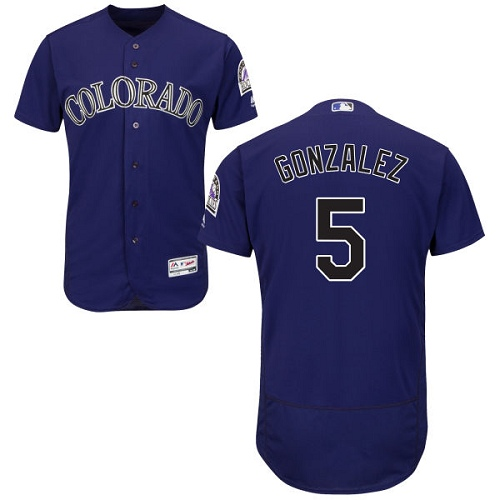 Rockies #5 Carlos Gonzalez Purple Flexbase Authentic Collection Stitched MLB Jersey