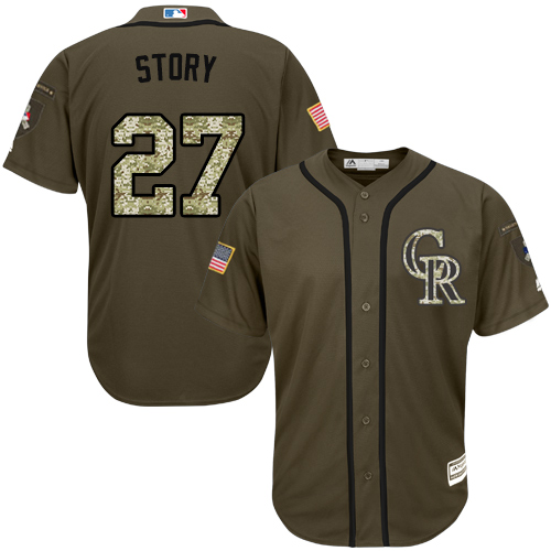 Rockies #27 Trevor Story Green Salute to Service Stitched MLB Jersey