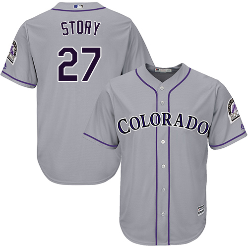 Rockies #27 Trevor Story Grey New Cool Base Stitched MLB Jersey