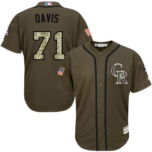 Rockies #71 Wade Davis Green Salute to Service Stitched MLB Jersey