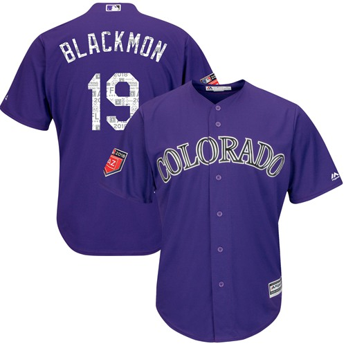 Rockies #19 Charlie Blackmon Purple 2018 Spring Training Cool Base Stitched MLB Jersey