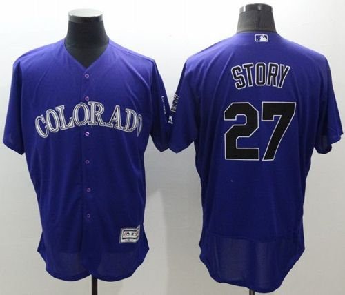 Rockies #27 Trevor Story Purple Flexbase Authentic Collection Stitched MLB Jersey