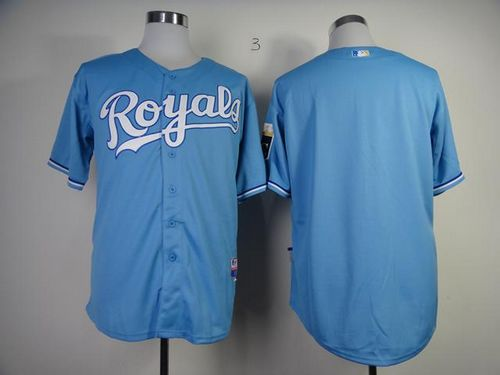 Royals Blank Light Blue Cool Base Stitched MLB Jersey