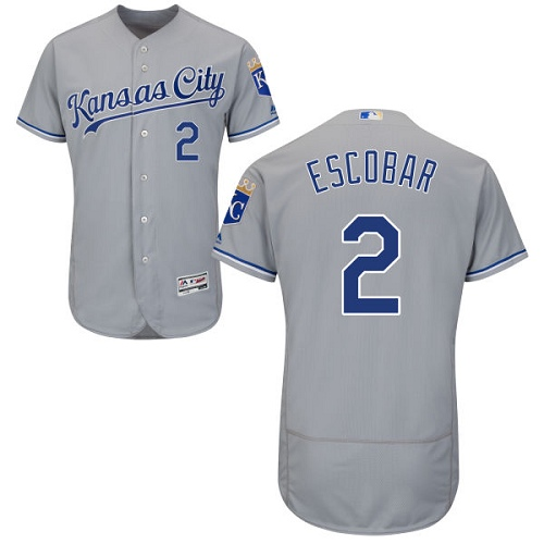 Royals #2 Alcides Escobar Grey Flexbase Authentic Collection Stitched MLB Jersey