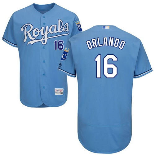 Royals #16 Paulo Orlando Light Blue Flexbase Authentic Collection Stitched MLB Jersey