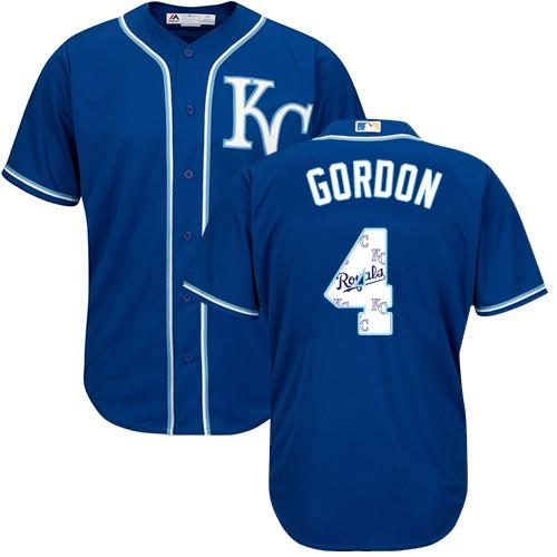 Royals #4 Alex Gordon Royal Blue Team Logo Fashion Stitched MLB Jersey