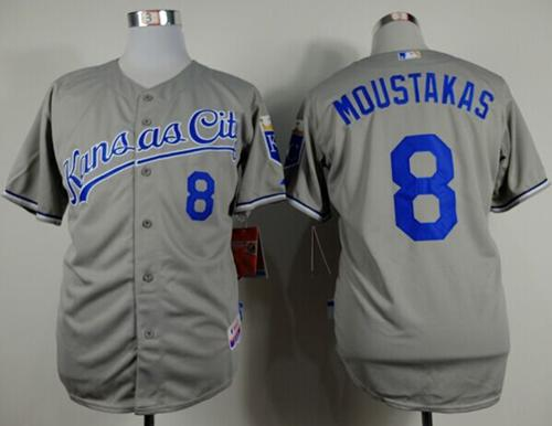 Royals #8 Mike Moustakas Grey Cool Base Stitched MLB Jersey
