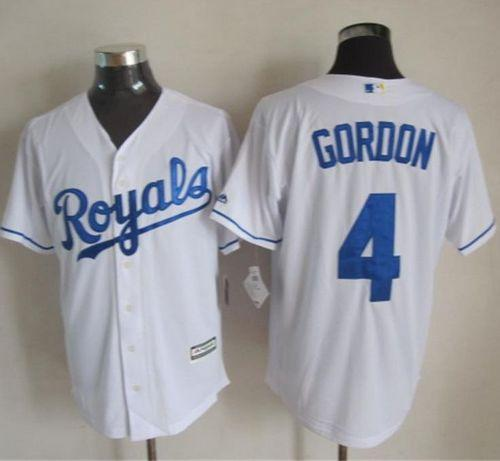 Royals #4 Alex Gordon White New Cool Base Stitched MLB Jersey