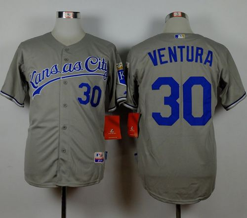 Royals #30 Yordano Ventura Grey Road Cool Base Stitched MLB Jersey