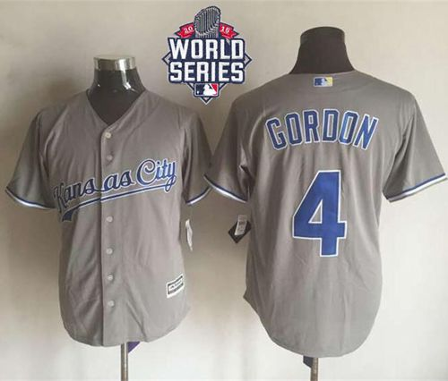 Royals #4 Alex Gordon New Grey Cool Base W/2015 World Series Patch Stitched MLB Jersey