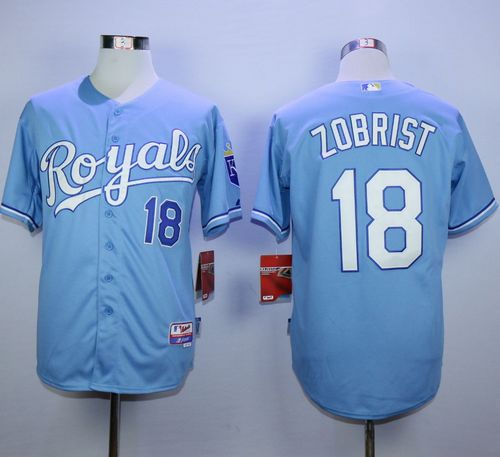 Royals #18 Ben Zobrist Light Blue Alternate 1 Cool Base Stitched MLB Jersey