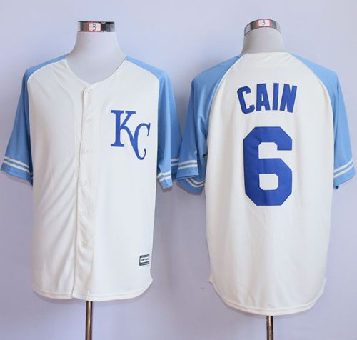 Royals #6 Lorenzo Cain Cream Exclusive Vintage Stitched MLB Jersey