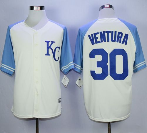 Royals #30 Yordano Ventura Cream Exclusive Vintage Stitched MLB Jersey