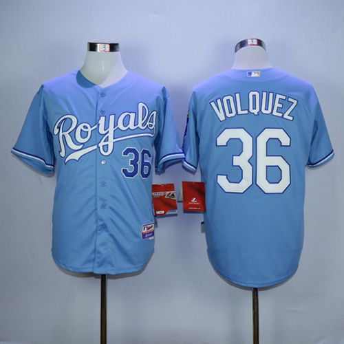 Royals #36 Edinson Volquez Light Blue Alternate 1 Cool Base Stitched MLB Jersey