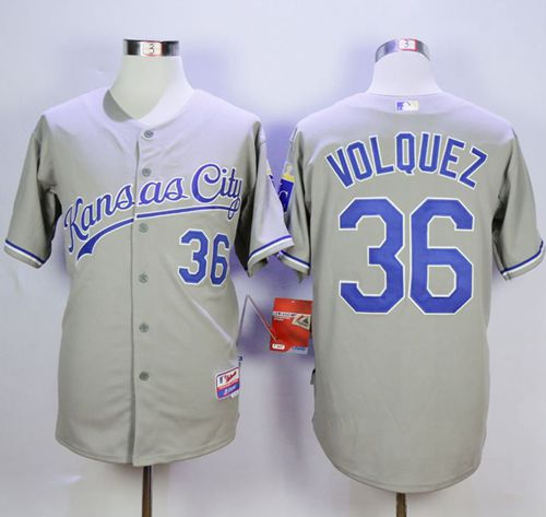 Royals #36 Edinson Volquez Grey Cool Base Road Stitched MLB Jersey