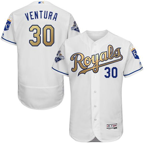 Royals #30 Yordano Ventura White 2015 World Series Champions Gold Program FlexBase Authentic Stitched MLB Jersey