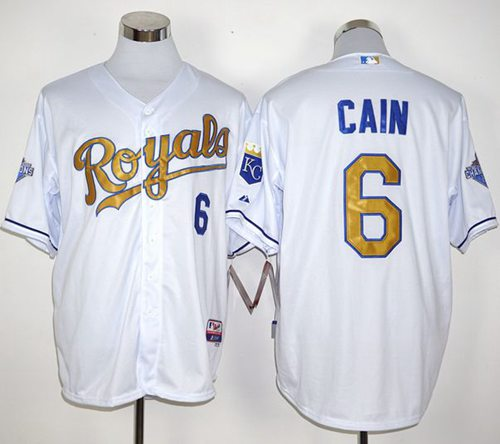 Royals #6 Lorenzo Cain White 2015 World Series Champions Gold Program Stitched MLB Jersey