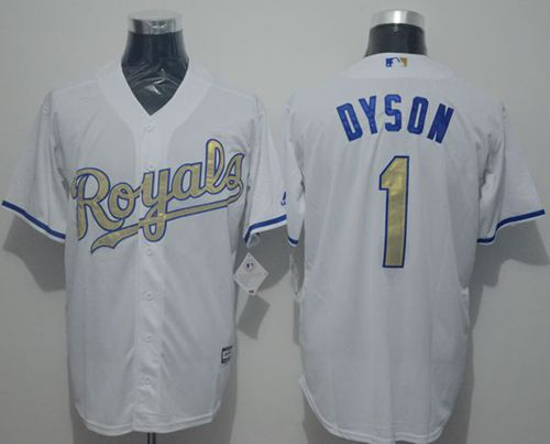 Royals #1 Jarrod Dyson White New Cool Base 2015 World Series Champions Gold Program Stitched MLB Jersey