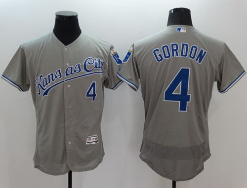 Royals #4 Alex Gordon Grey Flexbase Authentic Collection Stitched MLB Jersey