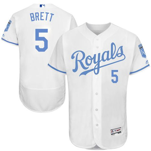 Royals #5 George Brett White Flexbase Authentic Collection Father's Day Stitched MLB Jersey