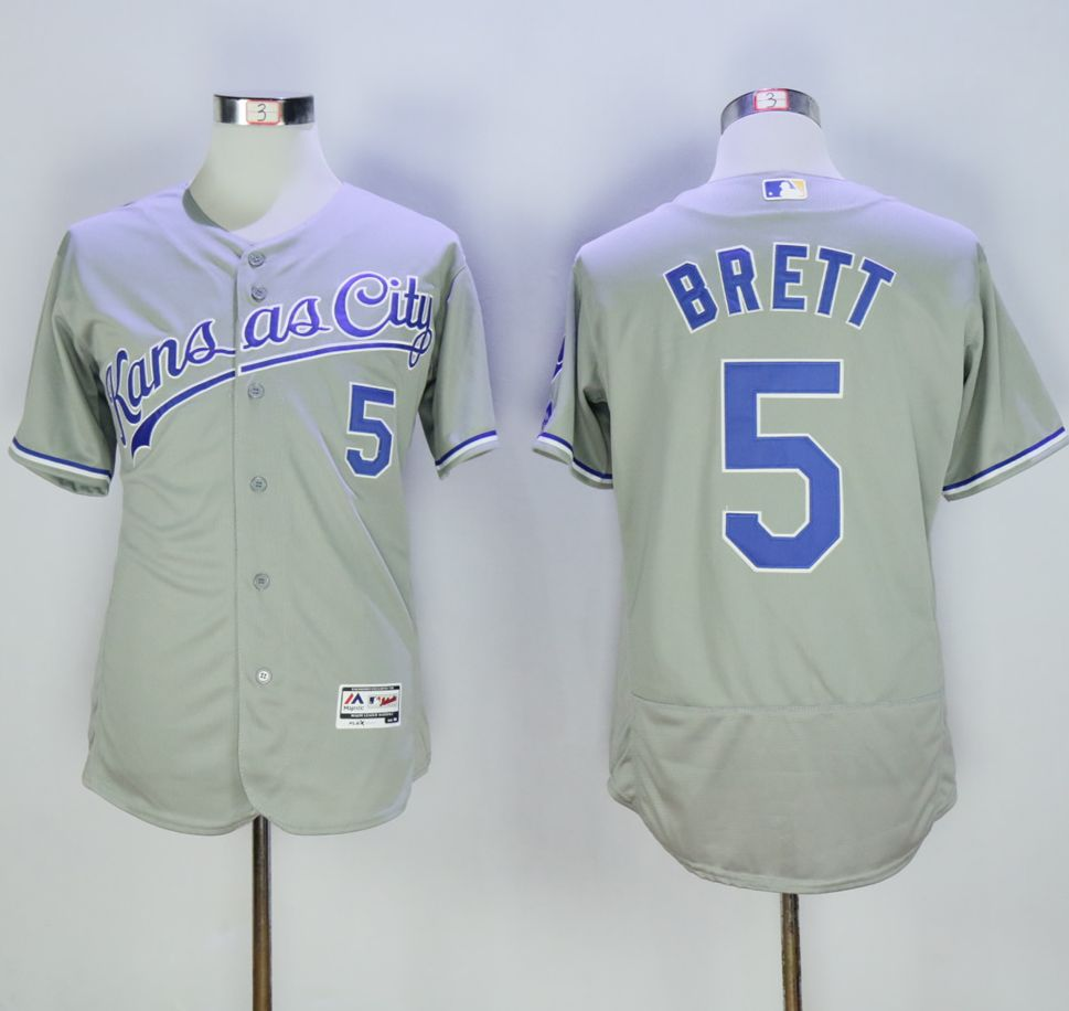 Royals #5 George Brett Grey Flexbase Authentic Collection Stitched MLB Jersey