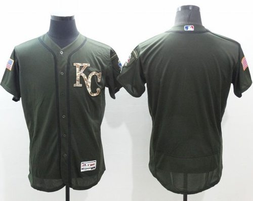 Royals Blank Green Flexbase Authentic Collection Salute to Service Stitched MLB Jersey