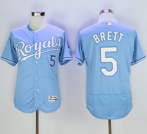 Royals #5 George Brett Light Blue Flexbase Authentic Collection Stitched MLB Jersey