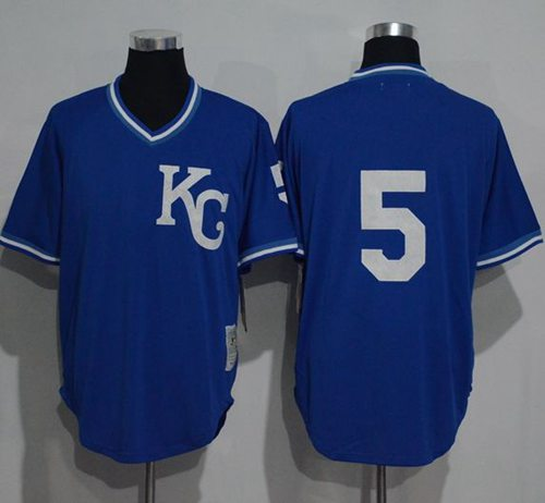 Mitchell And Ness 1989 Royals #5 George Brett Blue Throwback Stitched MLB Jersey