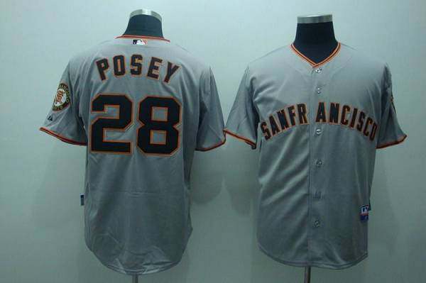 Giants #28 Buster Posey Stitched Grey MLB Jersey