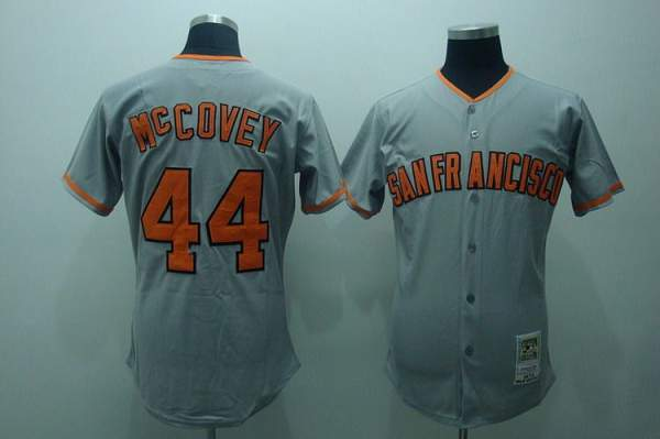 Mitchell and Ness Giants #44 McCovey Stitched Grey Throwback MLB Jersey