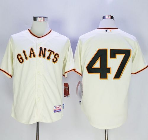 Giants #47 Johnny Cueto Cream Cool Base Stitched MLB Jersey