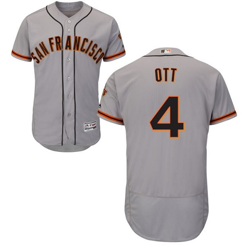 Giants #4 Mel Ott Grey Flexbase Authentic Collection Road Stitched MLB Jersey