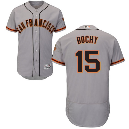 Giants #15 Bruce Bochy Grey Flexbase Authentic Collection Road Stitched MLB Jersey