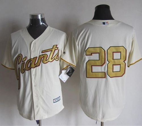 Giants #28 Buster Posey Cream(Gold No.) New Cool Base Stitched MLB Jersey